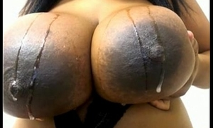 Grown black tits on webcam