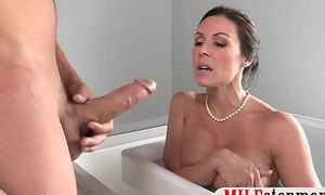 Stepson fucked his GF and busty stepmom