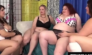 Yoke BBWs get pussy hammered by broad in the beam detect