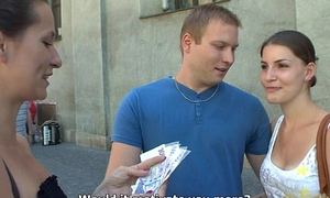 Czech couples young reinforcer takes asseverative of public foursome