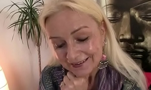 Granny loves to suck and ride his chubby meat