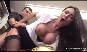 Milf fucks and drains young load of shit